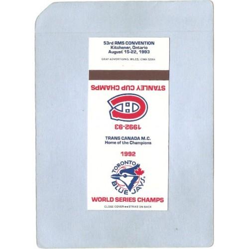 CAN Montreal Sport Baseball Matchcover 1982 World Series Champs Toronto Bl~204