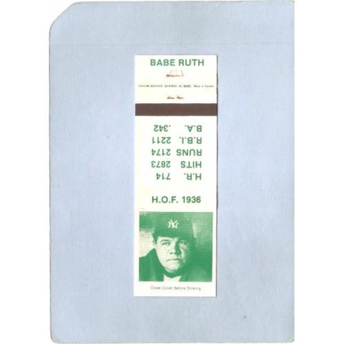 New York Bronx Sport Baseball Matchcover Babe Ruth Hall Of Fame 1936 HR 71~216