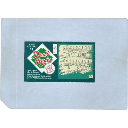 IA Generic Sport Baseball Iowa Instant Lottery Ticket Double Header Losing~377