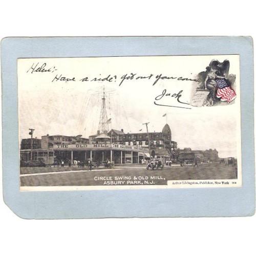 NJ Asbury Park Amusement Park Postcard Circle Swing & Old Mill Street Scen~130