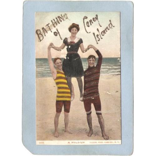 New York Coney Island Amusement Park Postcard A Hold-Up Bathing On Coney I~330