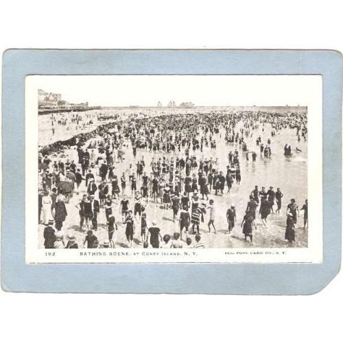 New York Coney Island Amusement Park Postcard Bathing Scene At Coney Islan~346