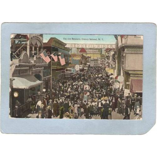 New York Coney Island Amusement Park Postcard On The Bowery Coney Island t~358