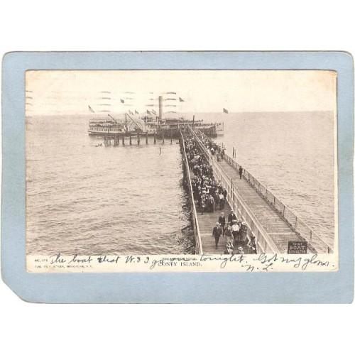 New York Coney Island Amusement Park Postcard Dreamland Dock Coney Island ~393