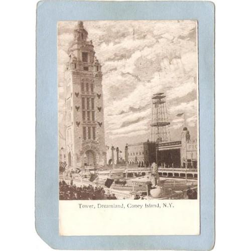 New York Coney Island Amusement Park Postcard Dreamland Tower top_box1~406