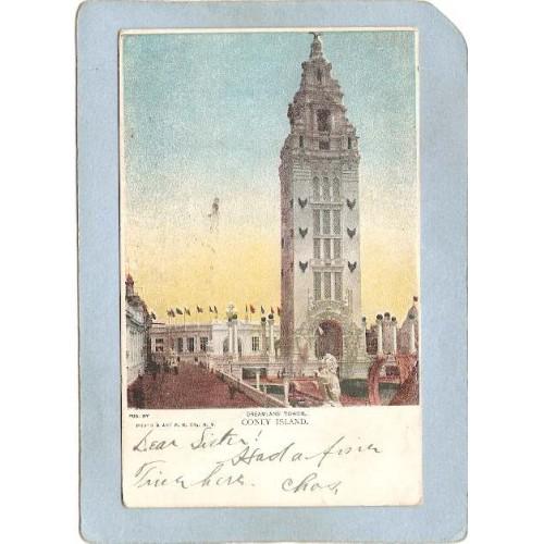 New York Coney Island Amusement Park Postcard Dreamland Tower Undivided Ba~410