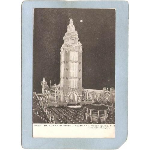 New York Coney Island Amusement Park Postcard Dreamland Tower At Night top~415