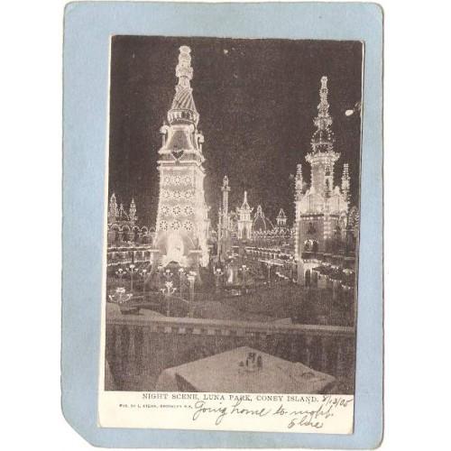 New York Coney Island Amusement Park Postcard Luna Park Night Scene Undivi~464