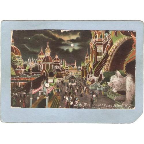 New York Coney Island Amusement Park Postcard Luna Park At Night top_box1~468