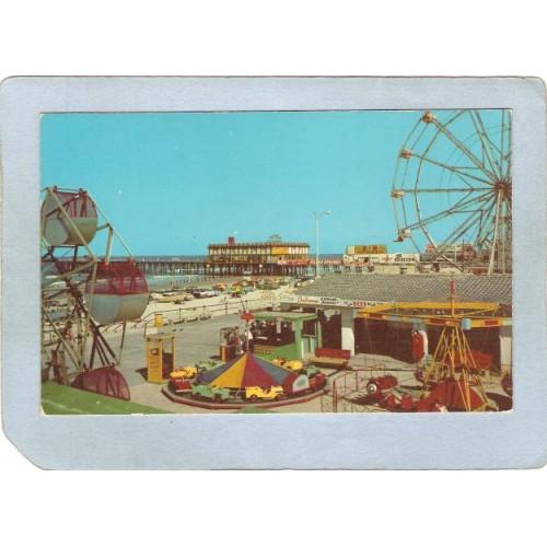 FL Daytona Beach Amusement Park Postcard Beach Park w/Rides Ferris Wheel t~86