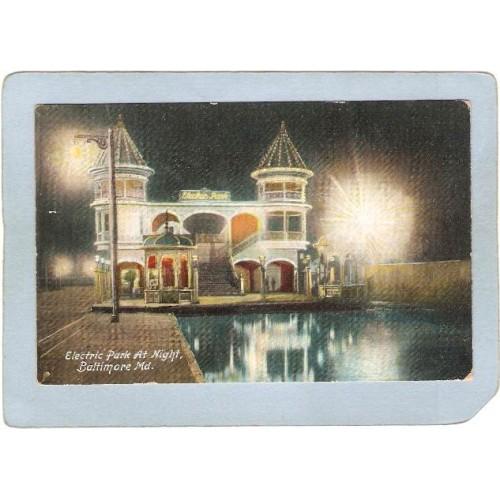 MD Baltimore Amusement Park Postcard Electric Park At NIght top_box1~95
