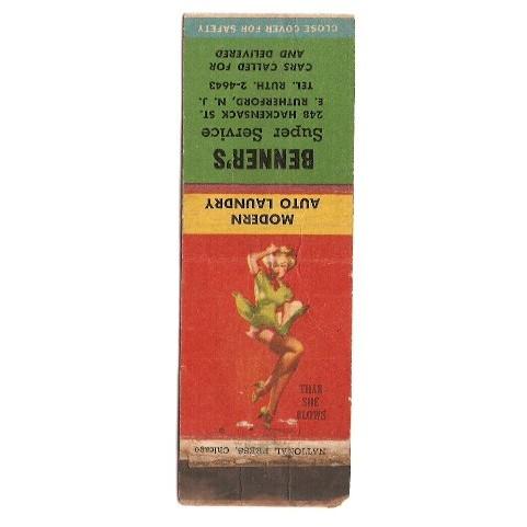 NJ Rutherford Matchcover Pin Up / Nudes / Girlie / Glamour Benner's Super ~91