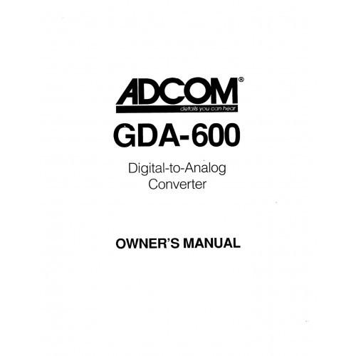 Adcom GDA-600 Converter Owners Manual