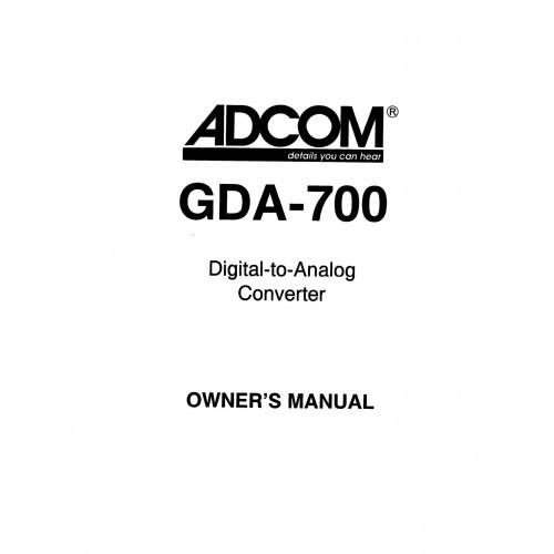 Adcom GDA-700 Converter Owners Manual