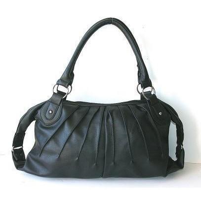 Designer Handbag by Mode Becky Pleated in Black