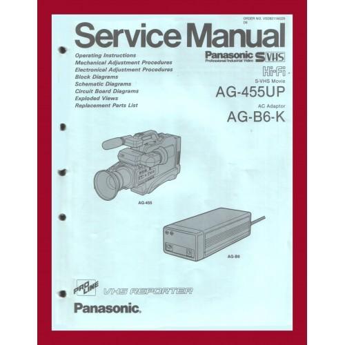 PANASONIC AG-455UP S-VHS VIDEO CAMERA RECORDER OPERATION / SERVICE MANUAL