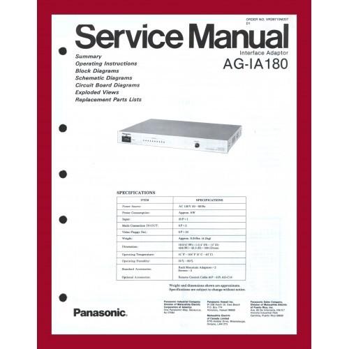 PANASONIC AG-IA180 INTERFACE ADAPTOR SERVICE MANUAL