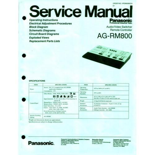 PANASONIC AG-RM800 A/V SWITCHER SERVICE MANUAL