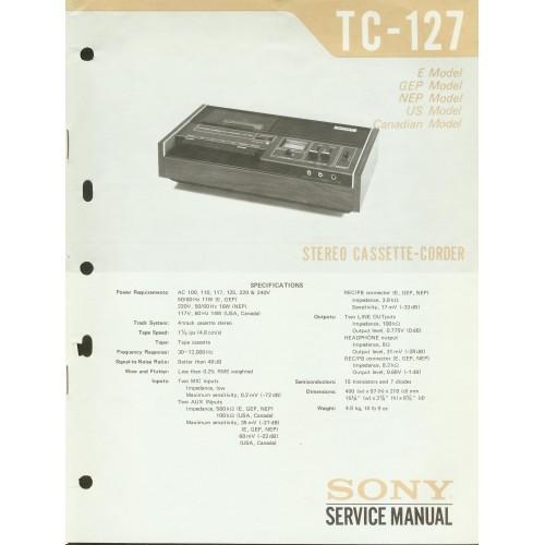 Sony TC-127  Cassette Deck - Service Manual