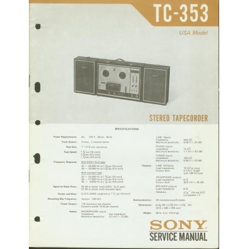 Sony TC-353 Reel Deck - Service Manual