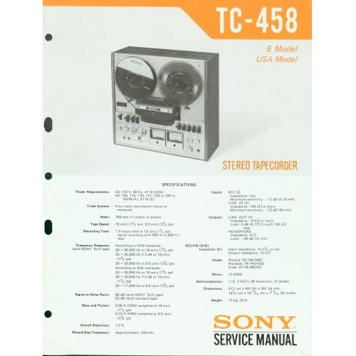 Sony TC-458 Reel Deck - Service Manual