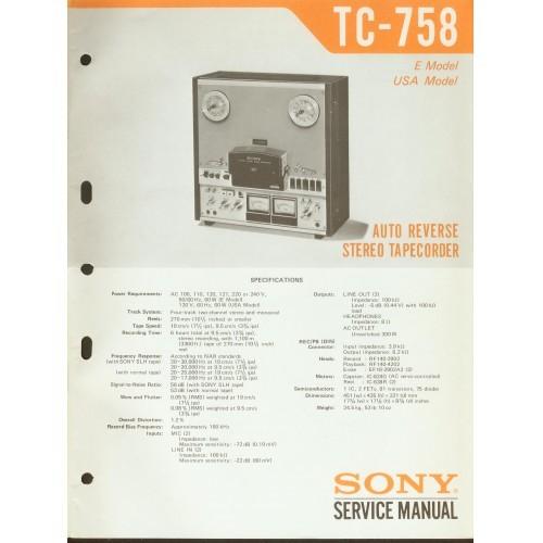 Sony TC-758 Reel Deck - Service Manual