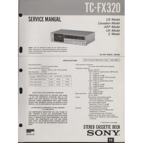 Sony TC-FX320 Cassette Deck - Service Manual