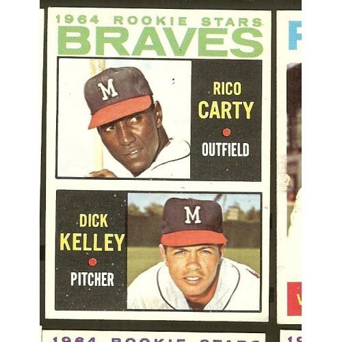 1964 Topps Baseball Card #476 Milwaukee Braves Rookie Stars Rico Carty D. Kelley