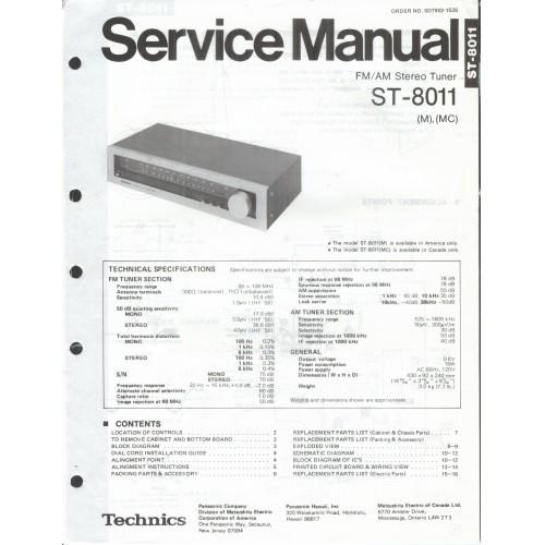 Technics ST-8011 Tuner Service Manual