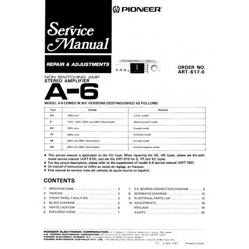 Pioneer A-6 Amplifier Service Manual