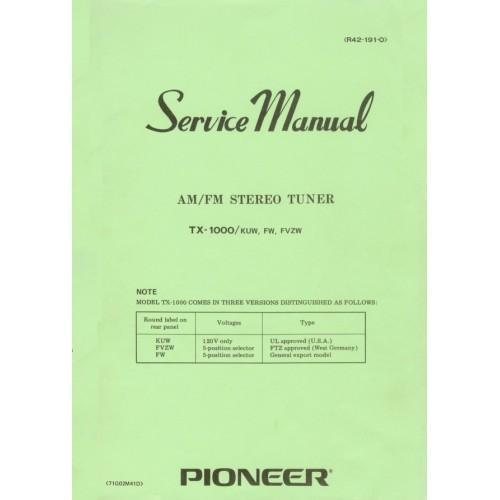 Pioneer TX-1000 Tuner Service Manual