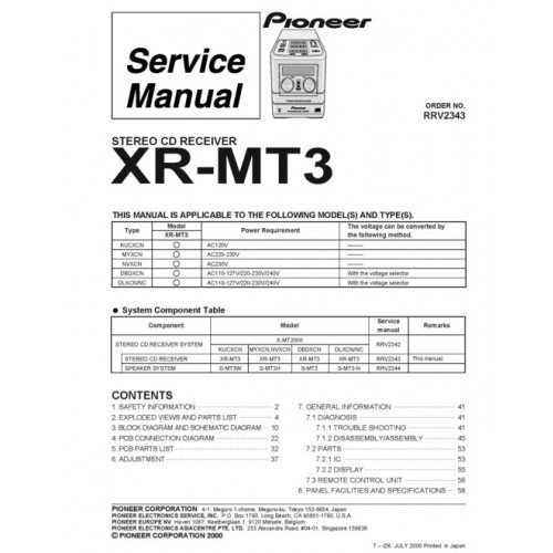 Pioneer XR-MT3 Receiver Service Manual