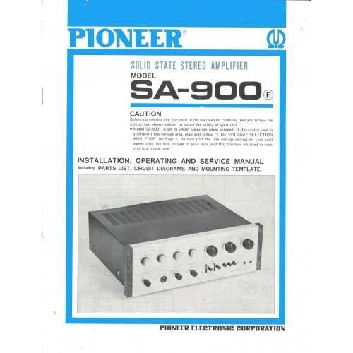 Pioneer SA-900 Amplifier Owners Manual