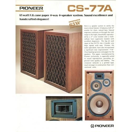 Pioneer CS-77A Speaker  Sales Brochure