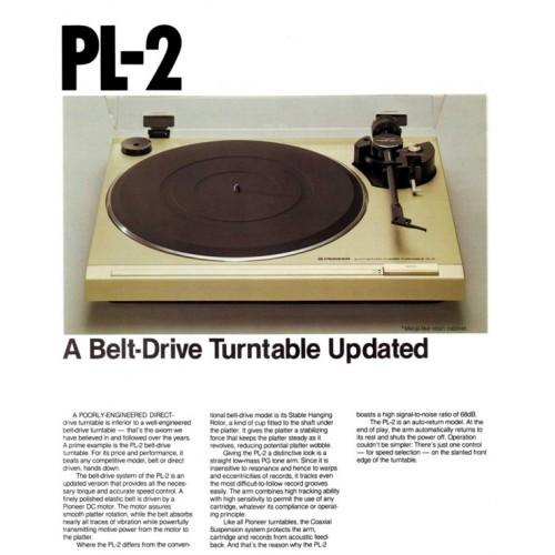 Pioneer PL-2 Turntable Sales Brochure