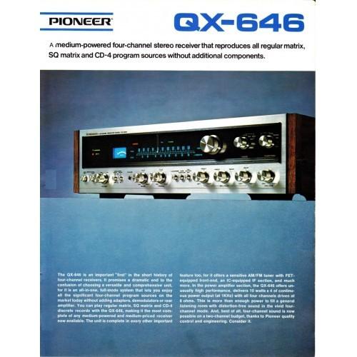 Pioneer  QX-646 Receiver Sales Brochure
