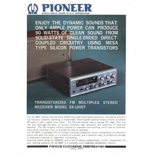 Pioneer  SX-1000T Receiver Sales Brochure