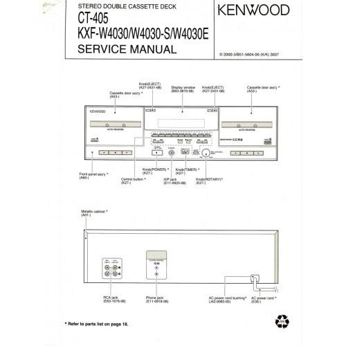 Kenwood CT-405/KXF-W4030/S/E Cassette Deck Service Manual