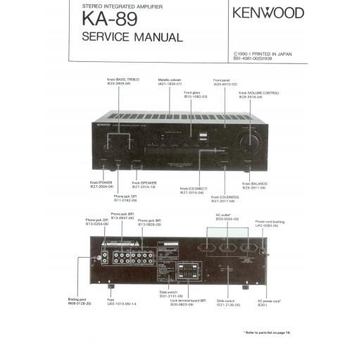 Kenwood KA-89 Amplifier Service Manual