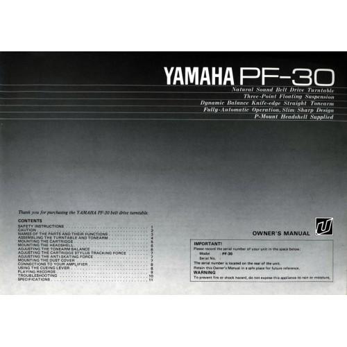 Yamaha PF-30 Turntable Owners Manual