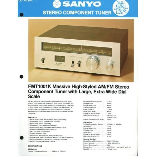 Sanyo FMT-1001K Tuner Sales Brochure