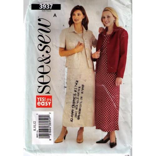 2003 DRESS & JACKET Pattern 3937-b Size 8-10-12