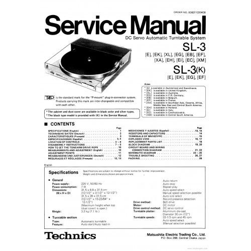 Technics SL-3 Turntable Service Manual