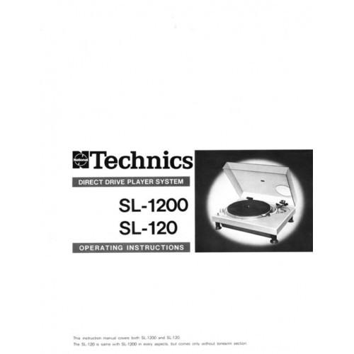 Technics SL-1200/120 Turntable Owners Manual