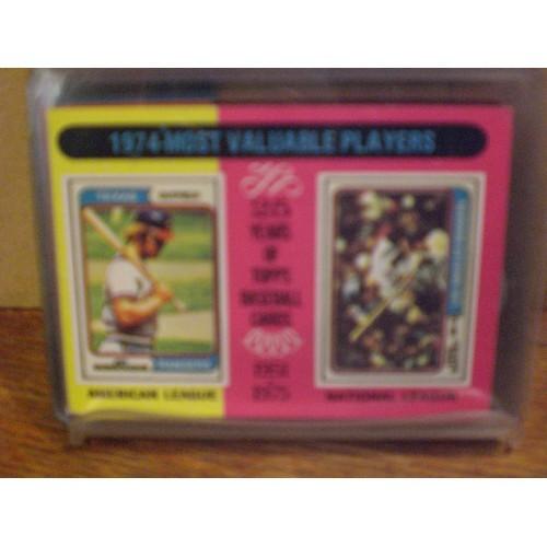 BASEBALL CARD:  1975 TOPPS 212 / 1974 MVP'S JEFF BURROUGHS & STEVE GARVEY / EX