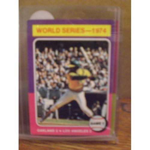 BASEBALL CARD: 1975 TOPPS 461 / 1974 WORLD SERIES GAME 1 REGGIE JACKSON / EX