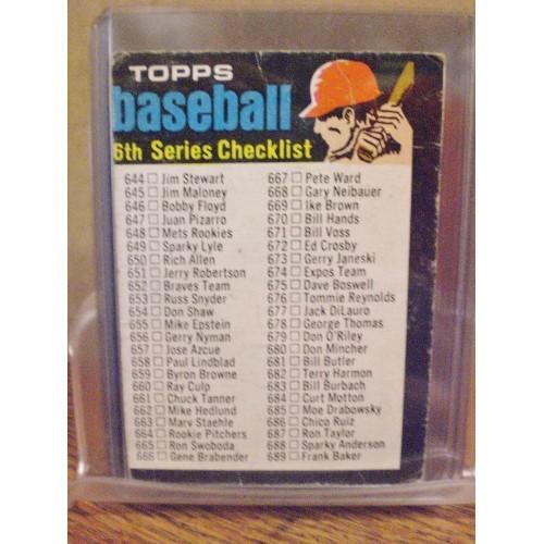 BASEBALL CARD: 1971 TOPPS 6TH SERIES 619 CHECK LIST  644 - 752  VG