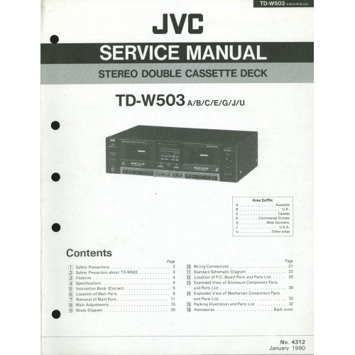JVC TD-W503 Cassette Deck Service Manual