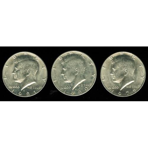 Kennedy Half Dollar - 3 Coins - 1979 1980 1981