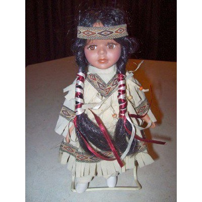 "1970s VINTAGE PORCELAIN NATIVE AMERICAN INDIAN 8-1/2"" DOLL"
